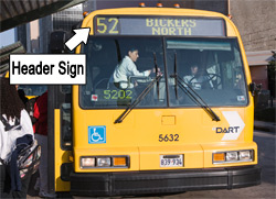 DART bus showing header sign